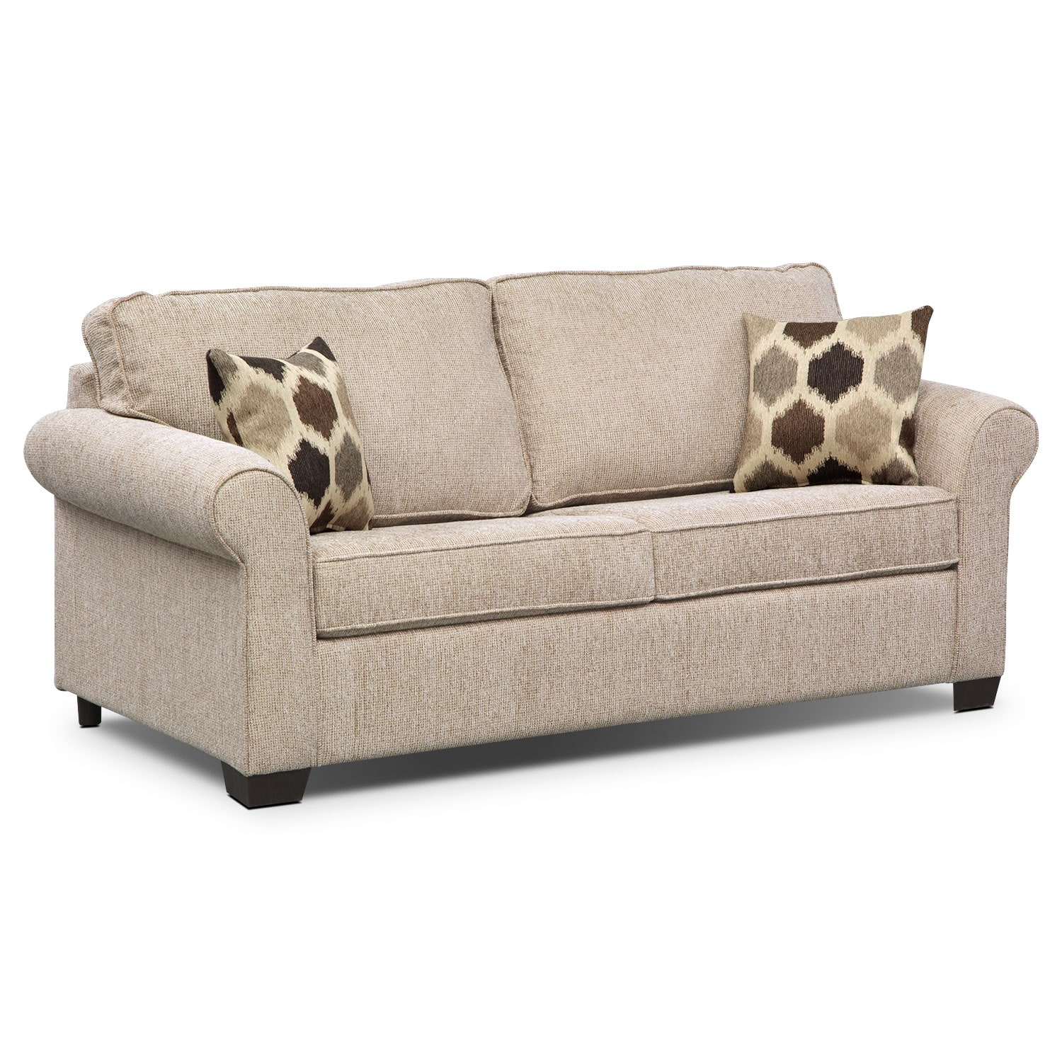 Fletcher Full Memory Foam Sleeper Sofa Beige Value City Furniture