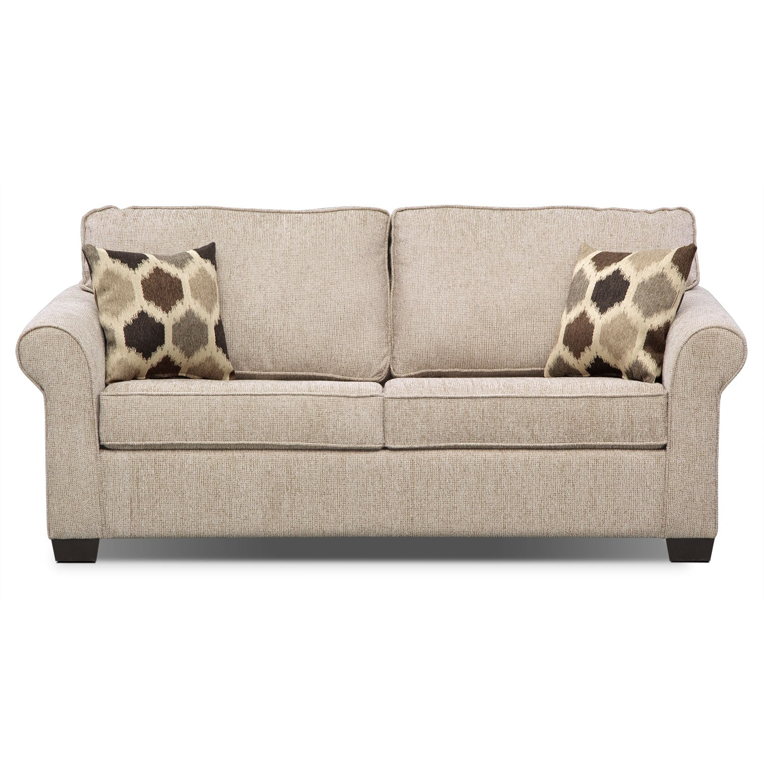 Fletcher Full Memory Foam Sleeper Sofa Beige American Signature Furniture