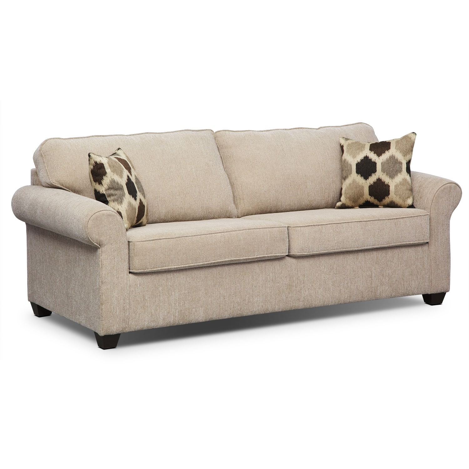 Fletcher queen memory foam sleeper sofa beige american for Furniture sofa bed