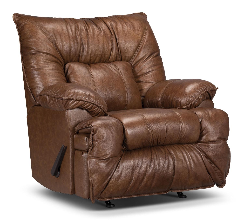 Living Room Furniture - Designed2B Recliner 7726 Genuine Leather Rocker Chair - Saddle