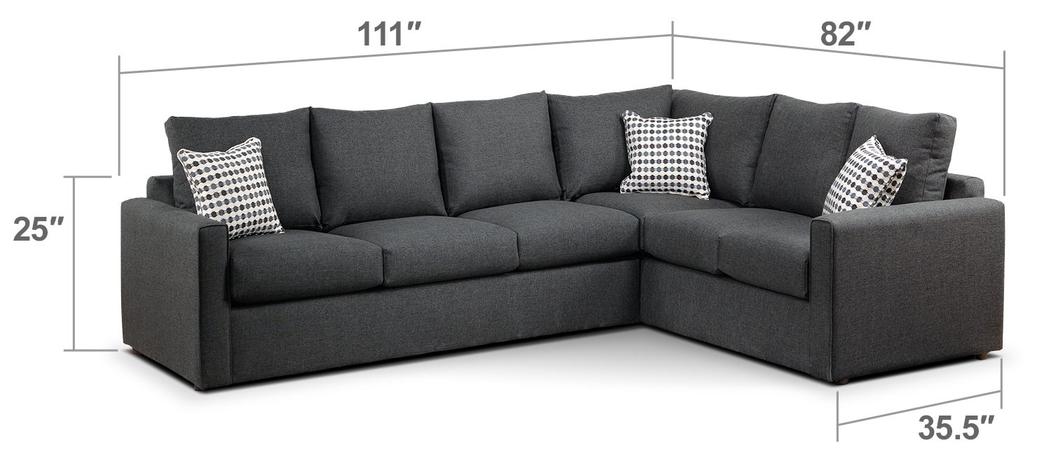 Living Room Furniture - Athina 2-Piece Left-Facing Queen Sofa Bed Sectional - Charcoal