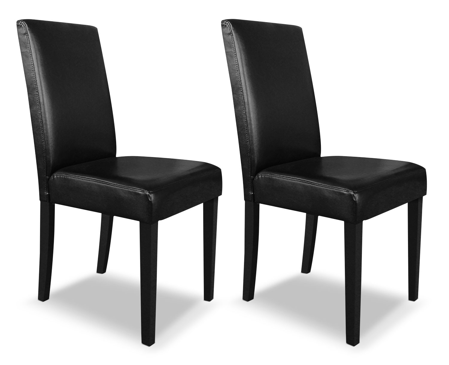 Black faux leather accent dining chair set of 2 united for Black leather dining chairs