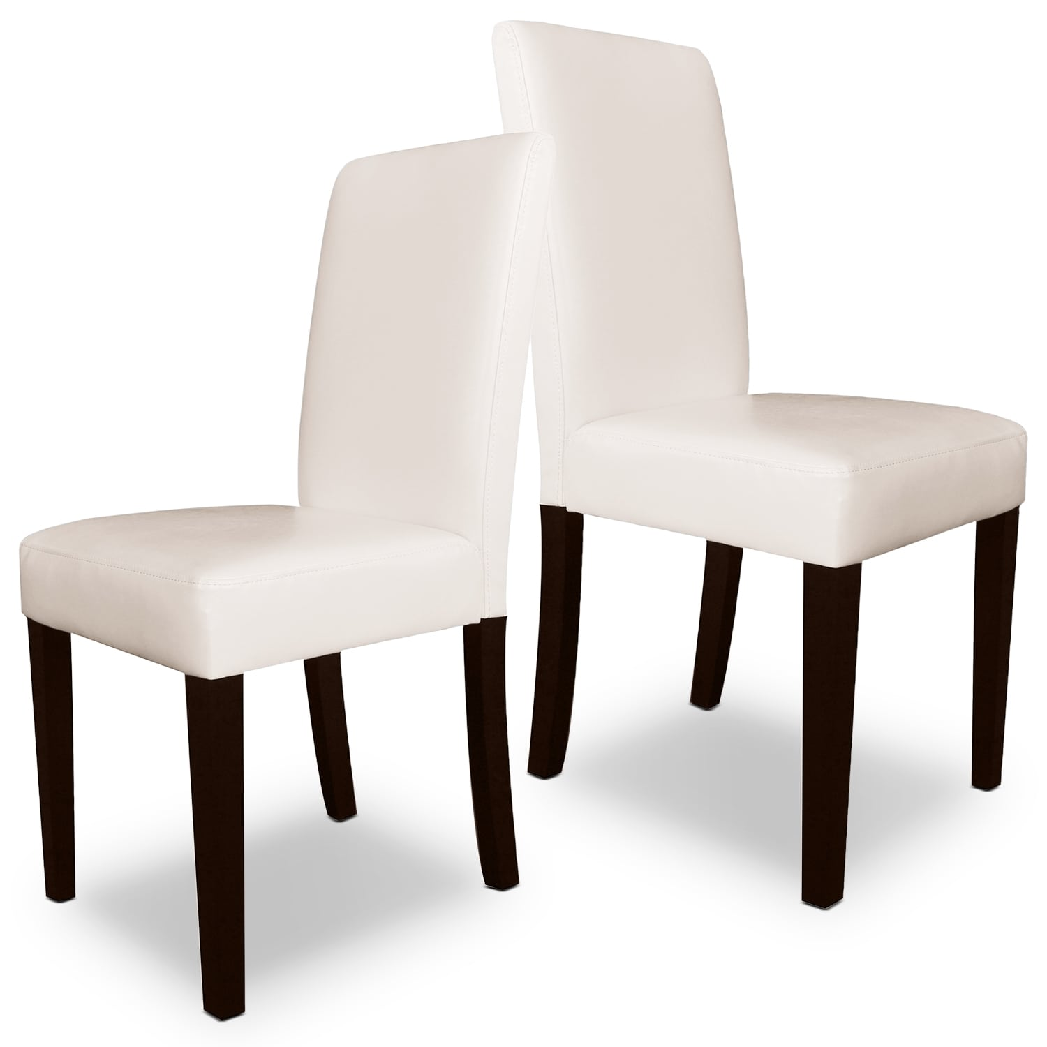 White Faux Leather Accent Dining Chair – Set of 2