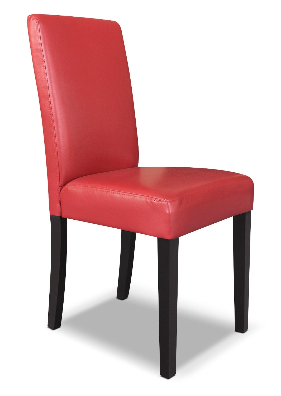 Dining room furniture red faux leather accent dining chair for Red dining room chairs