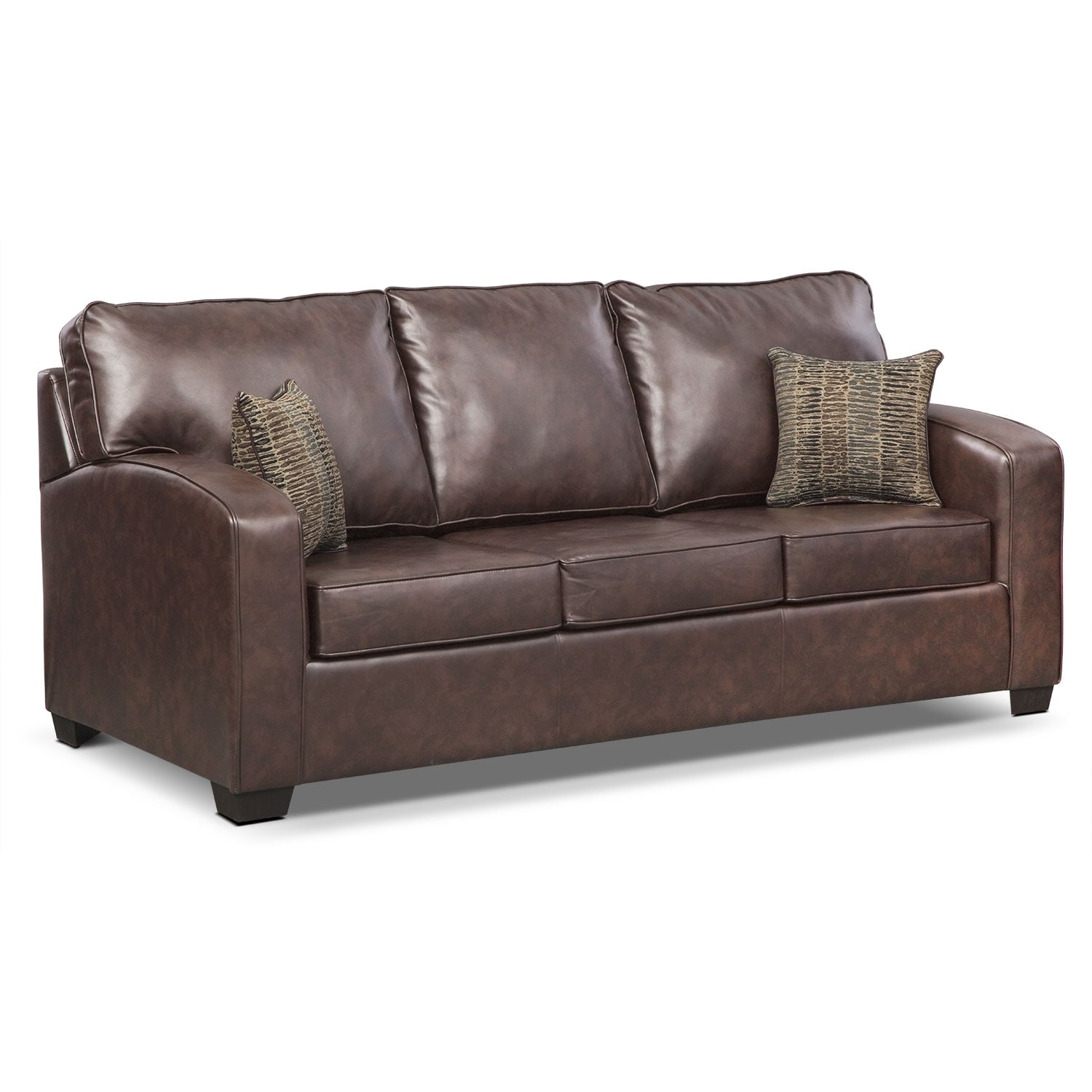 Brookline leather queen memory foam sleeper sofa for Leather sleeper sofa
