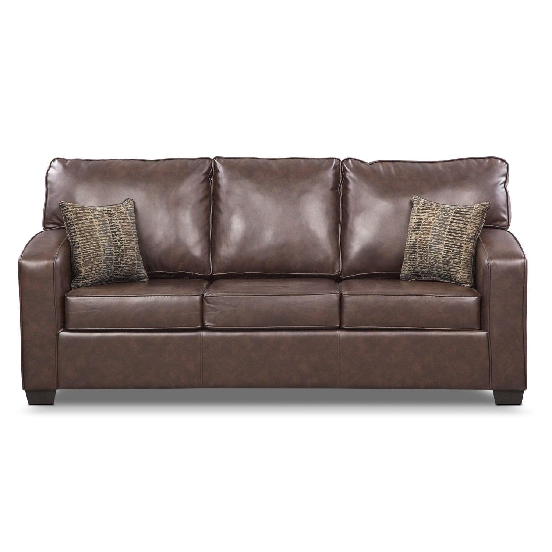 Brookline queen memory foam sleeper sofa brown value for Sectional sleeper sofa city furniture