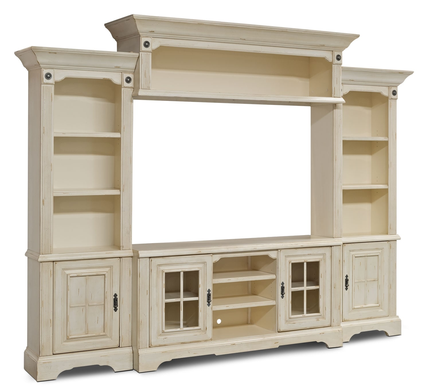 """Entertainment Units Acoustic Wall And Home Theaters On: Highland 4-Piece Entertainment Centre With 66"""" TV Opening"""