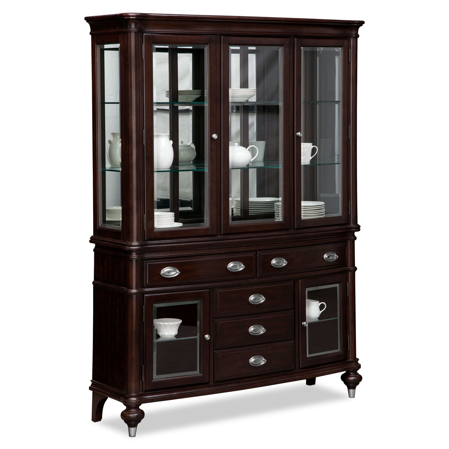 Esquire buffet and hutch cherry value city furniture for Dining room armoire