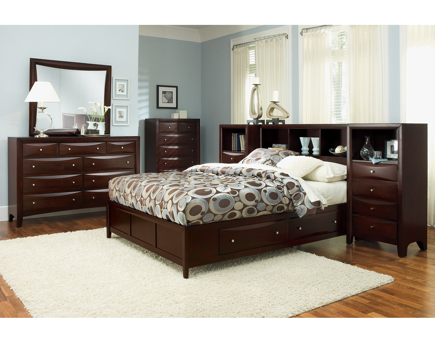 Bedroom Furniture - The Kensington Collection - Queen Wall Bed with Piers