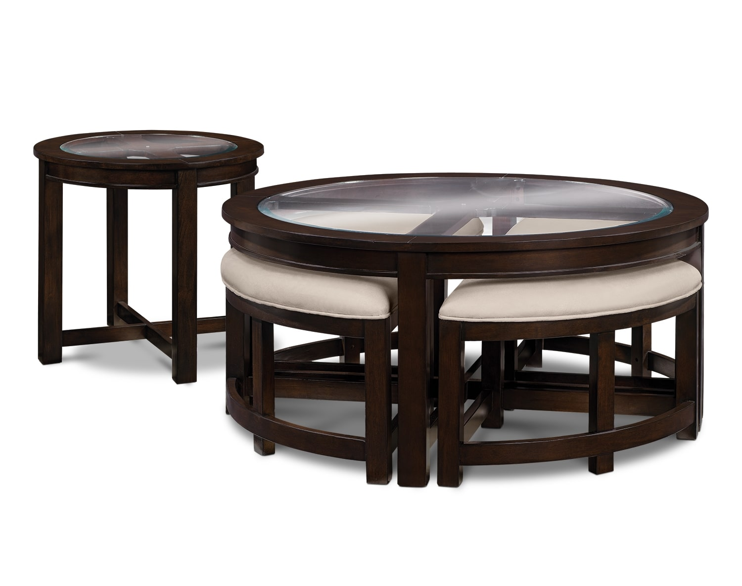 Accent and Occasional Furniture - The Intervale Collection - Cocktail Table w_ 4 Benches
