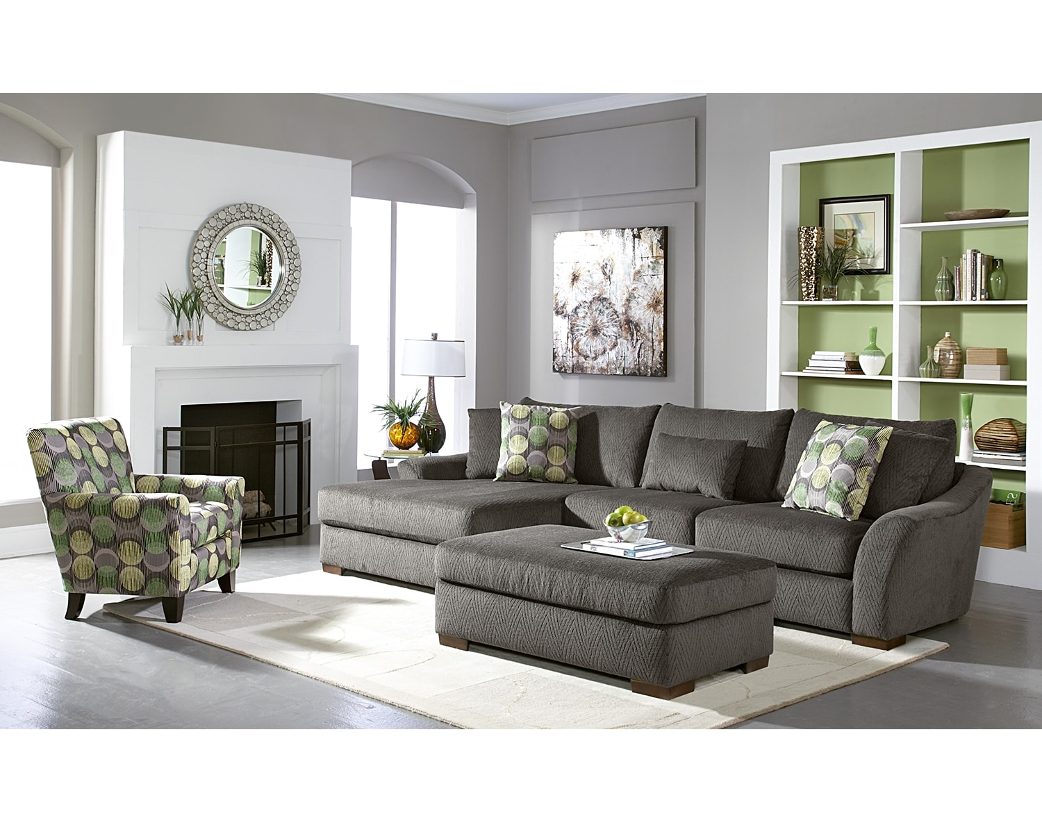 Living Room Furniture - The Orleans Gray Collection - 2 Pc. Sectional