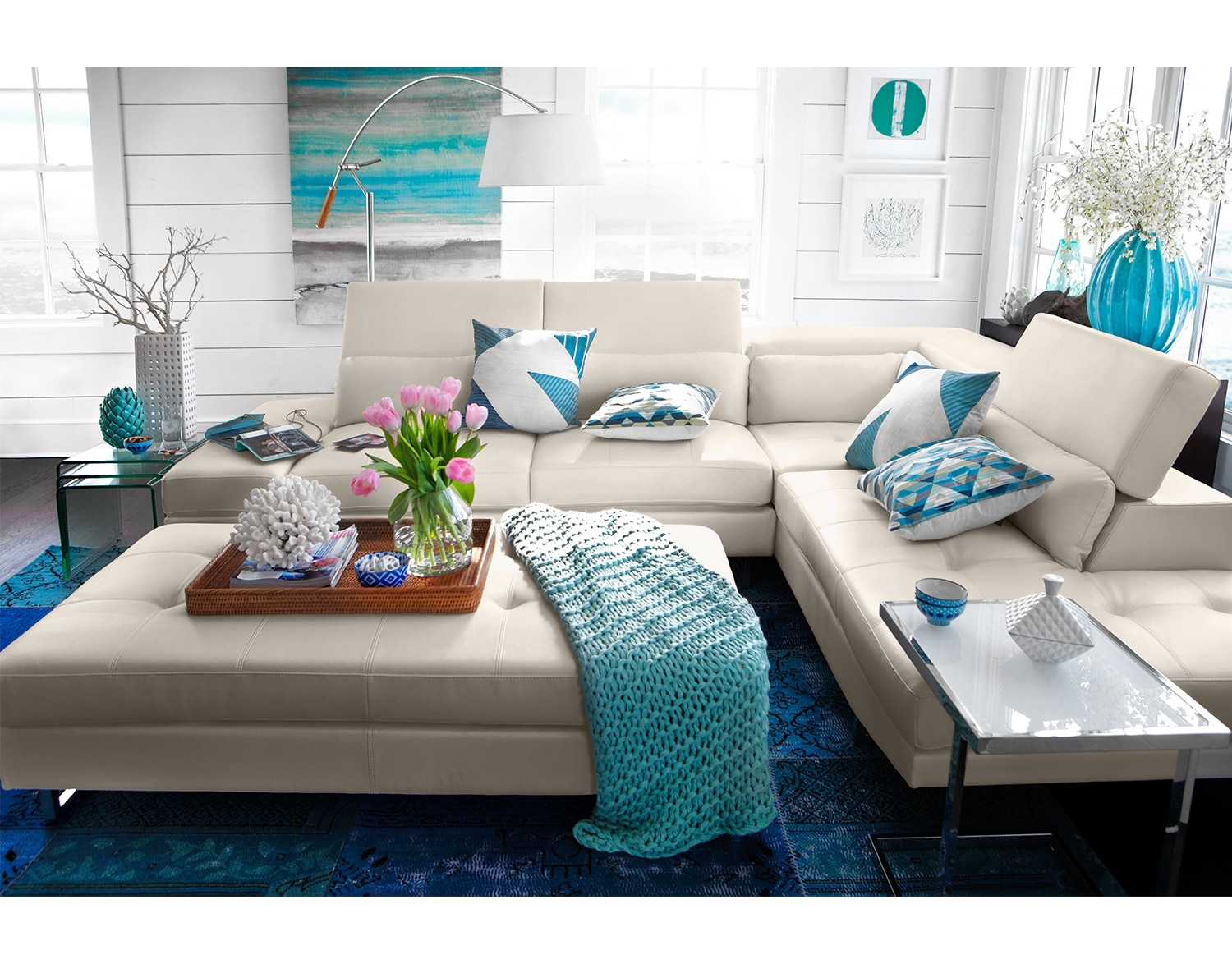 Living Room Furniture - The Milan White Collection - 2 Pc. Sectional