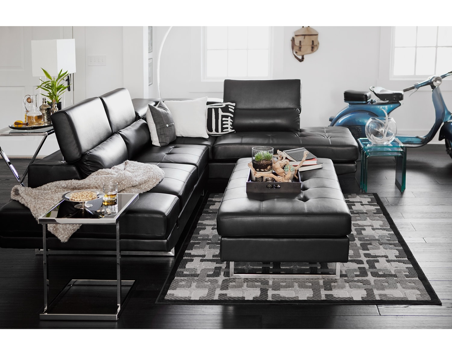 Living Room Furniture - The Milan Black Collection - 2 Pc. Sectional