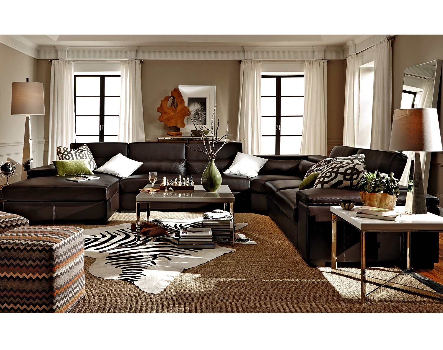 Living Room Furniture - The Carmel Godiva Collection - 4 Pc. Sectional