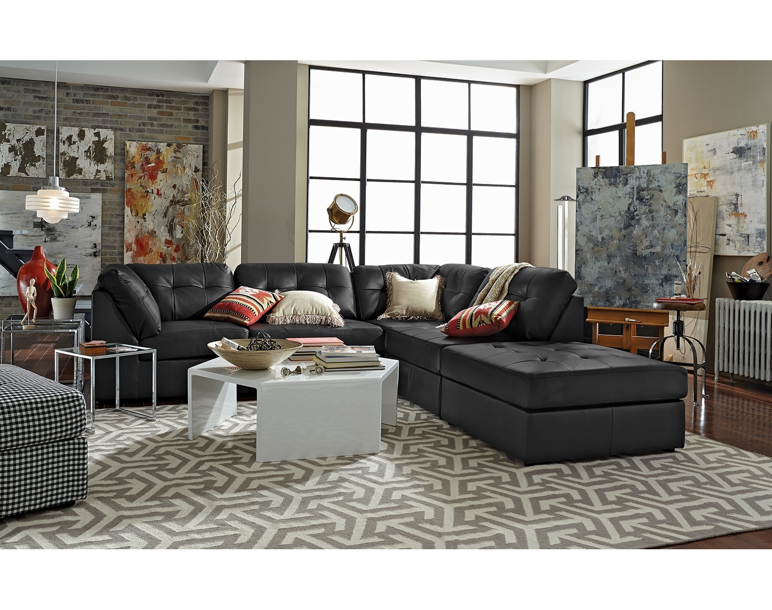 Living Room Furniture - The Largo Black Collection - 5 Pc. Sectional