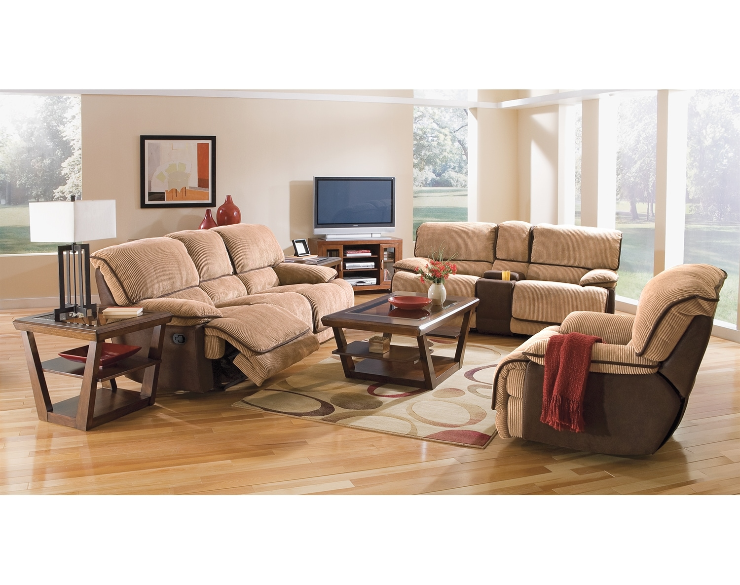 Living Room Furniture - The Putnam Camel Collection - Dual Reclining Sofa