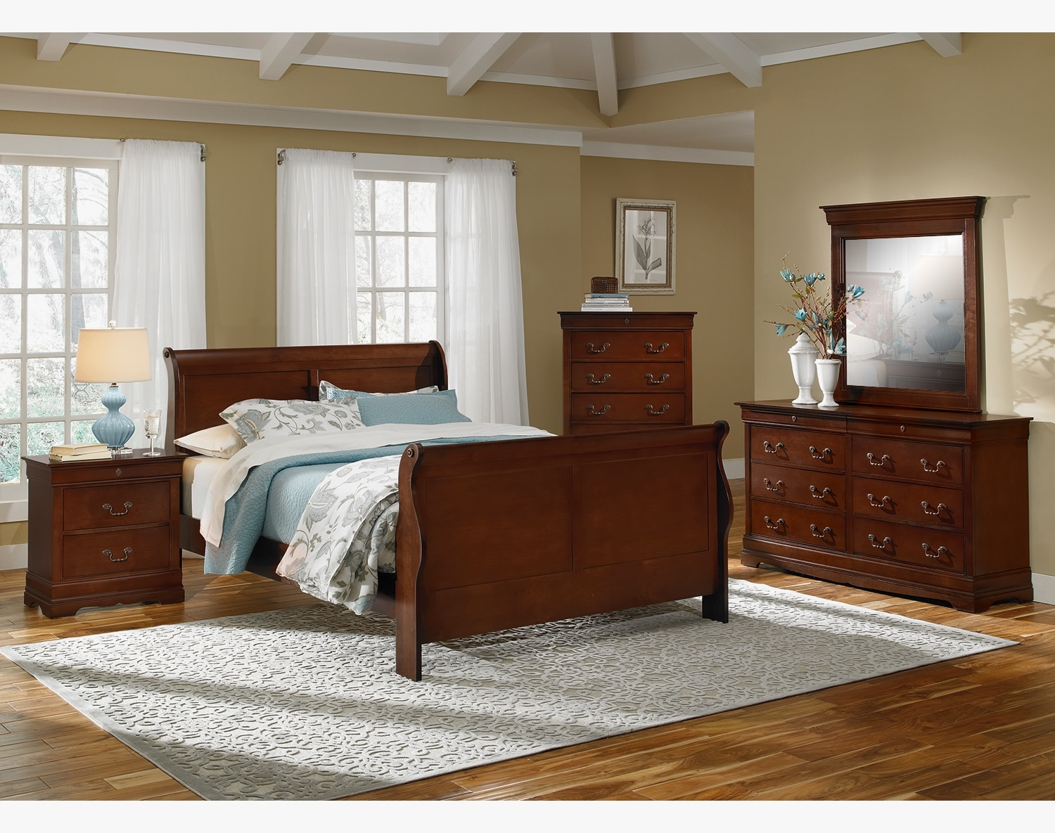 Bedroom Furniture - The Avignon Cherry Collection - Queen Bed
