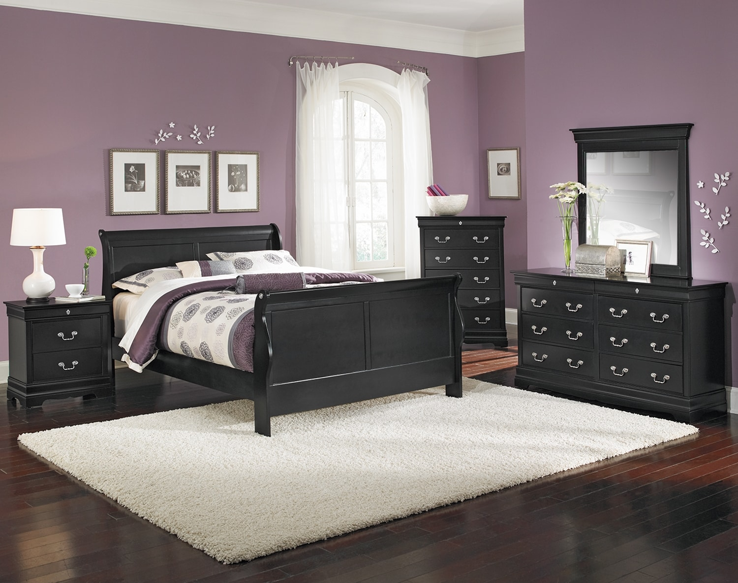 Bedroom Furniture - The Avignon Black Collection - Queen Bed
