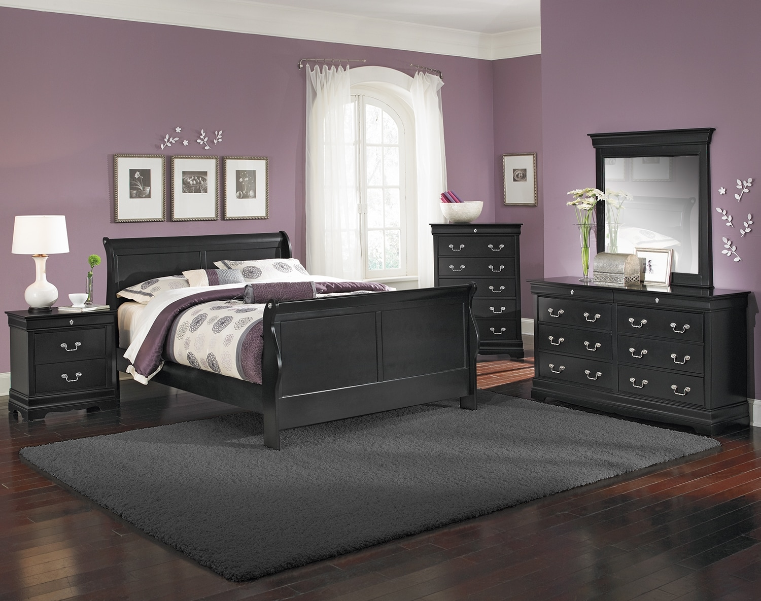 Kids Furniture - The Avignon II Black Collection - Twin Bed