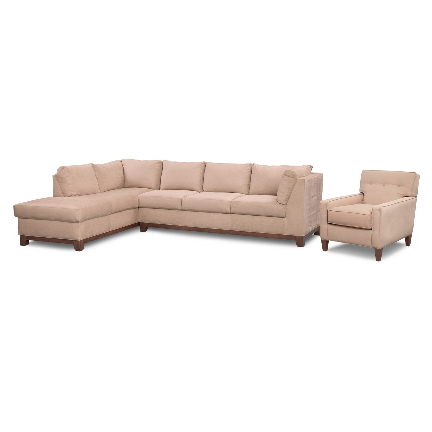 Soho 2 piece sectional with left facing chaise and chair for 2 piece sectional with chaise
