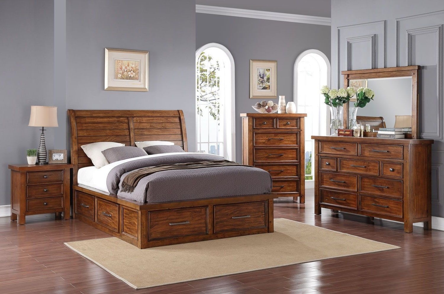 Bedroom Furniture - Sonoma 7-Piece Queen Storage Bedroom Package – Light Brown