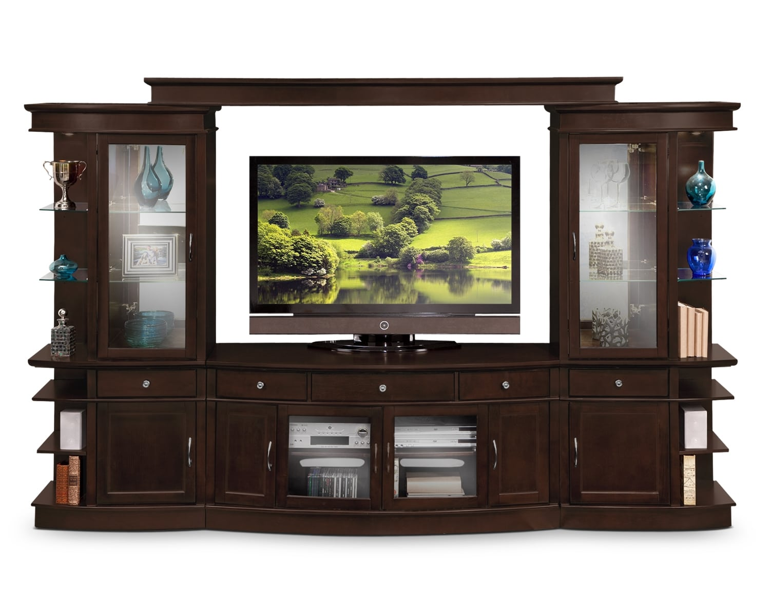 Entertainment Furniture - The Greenbriar Collection - 4 Pc. Entertainment Wall Unit