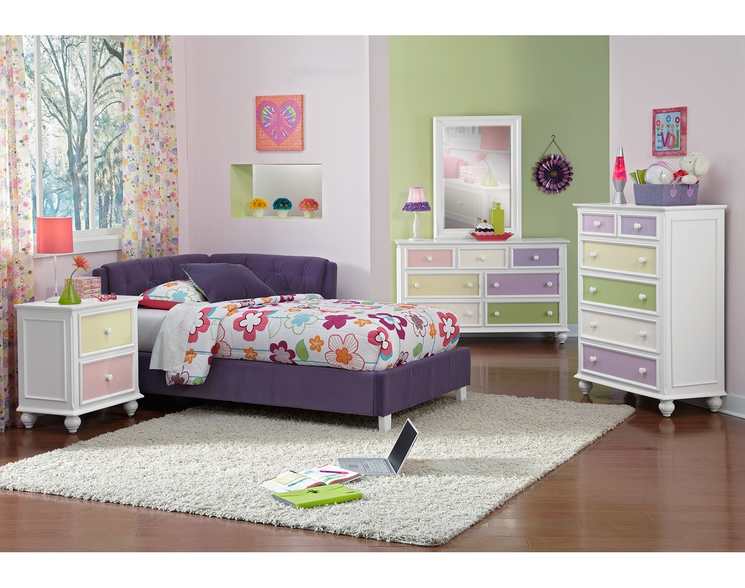 Kids Furniture - The Taylor Purple Collection - Twin Corner Bed