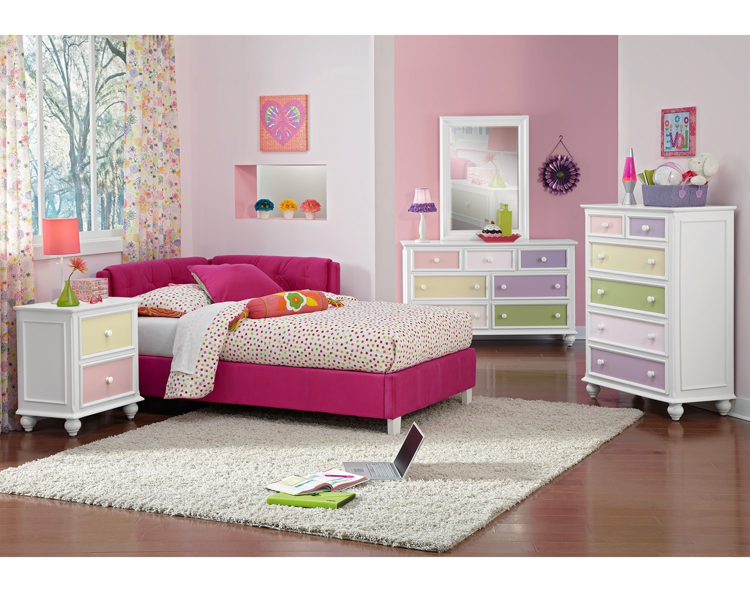 Kids Furniture - The Taylor Pink Collection - Twin Corner Bed