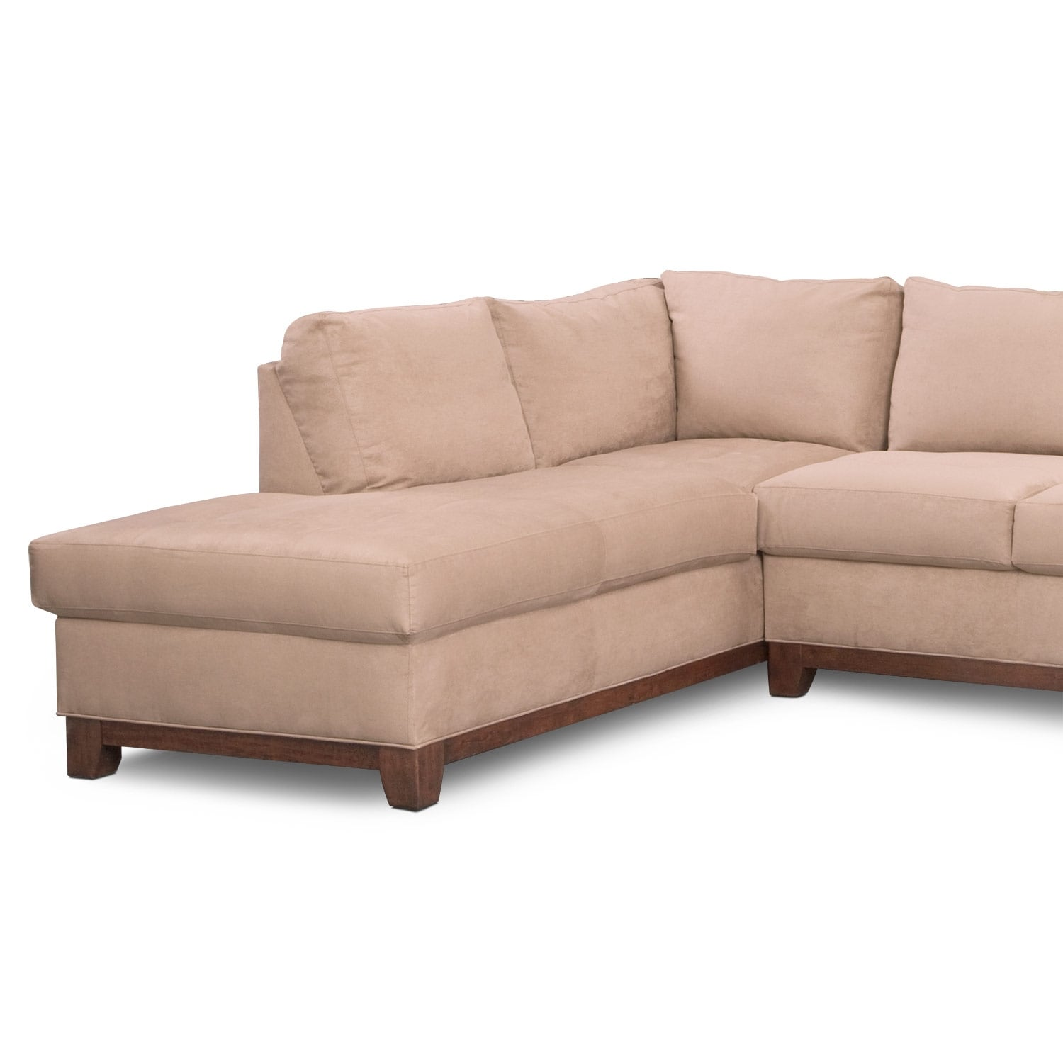 Soho 2 piece sectional with left facing chaise for American signature furniture commercial chaise