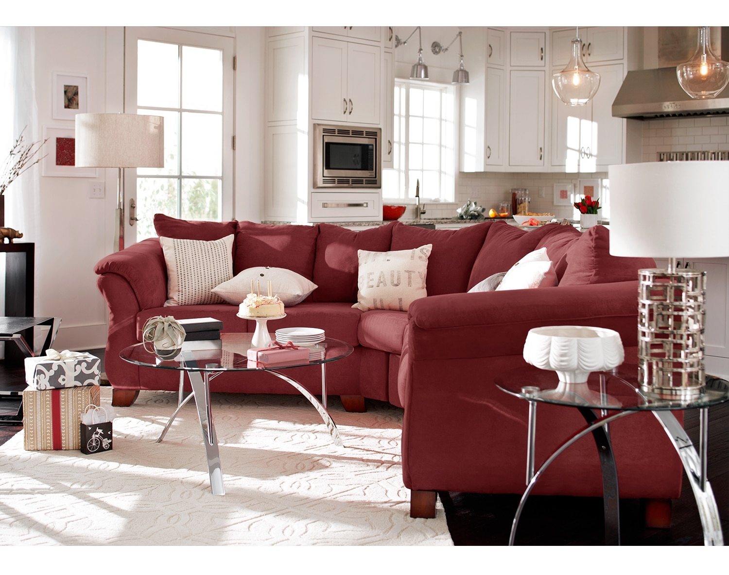 Living Room Furniture - The Perry II Red Collection - 2 Pc. Sectional
