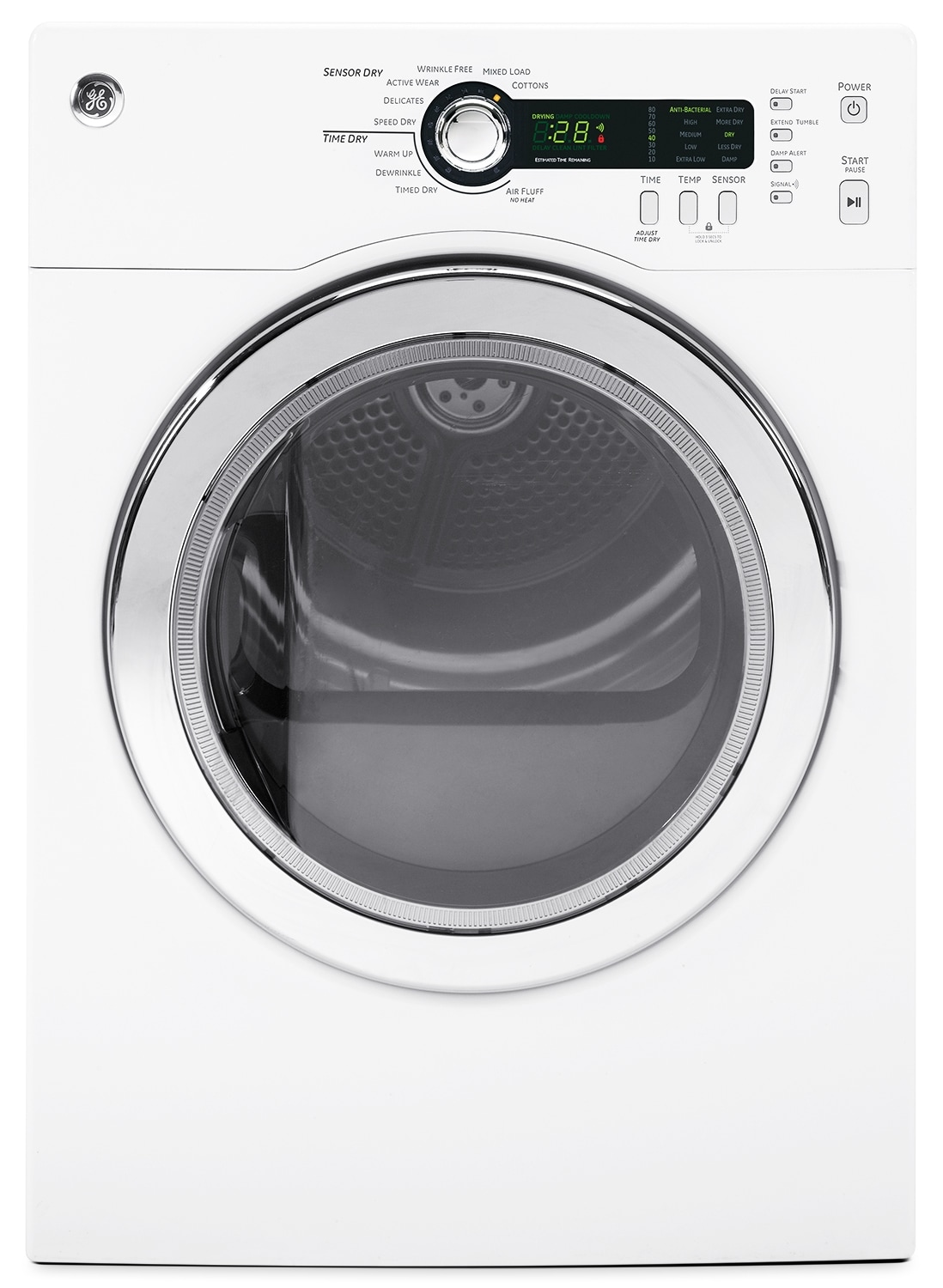 GE White Electric Dryer (4.0 Cu. Ft.) - PCVH480EKWW
