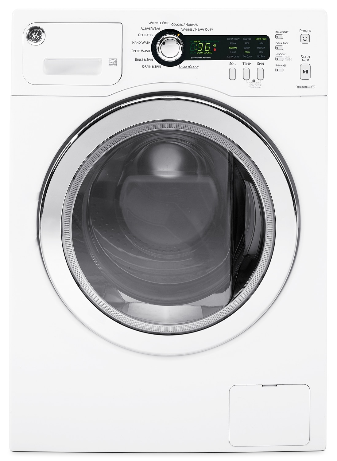 Washers and Dryers - GE White Front-Load Washer (2.6 Cu. Ft. IEC) - WCVH4800KWW