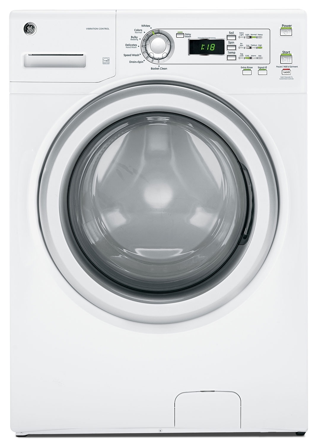 Washers and Dryers - GE White Front-Load Washer (4.2 Cu. Ft. IEC) - GFWN1100HWW