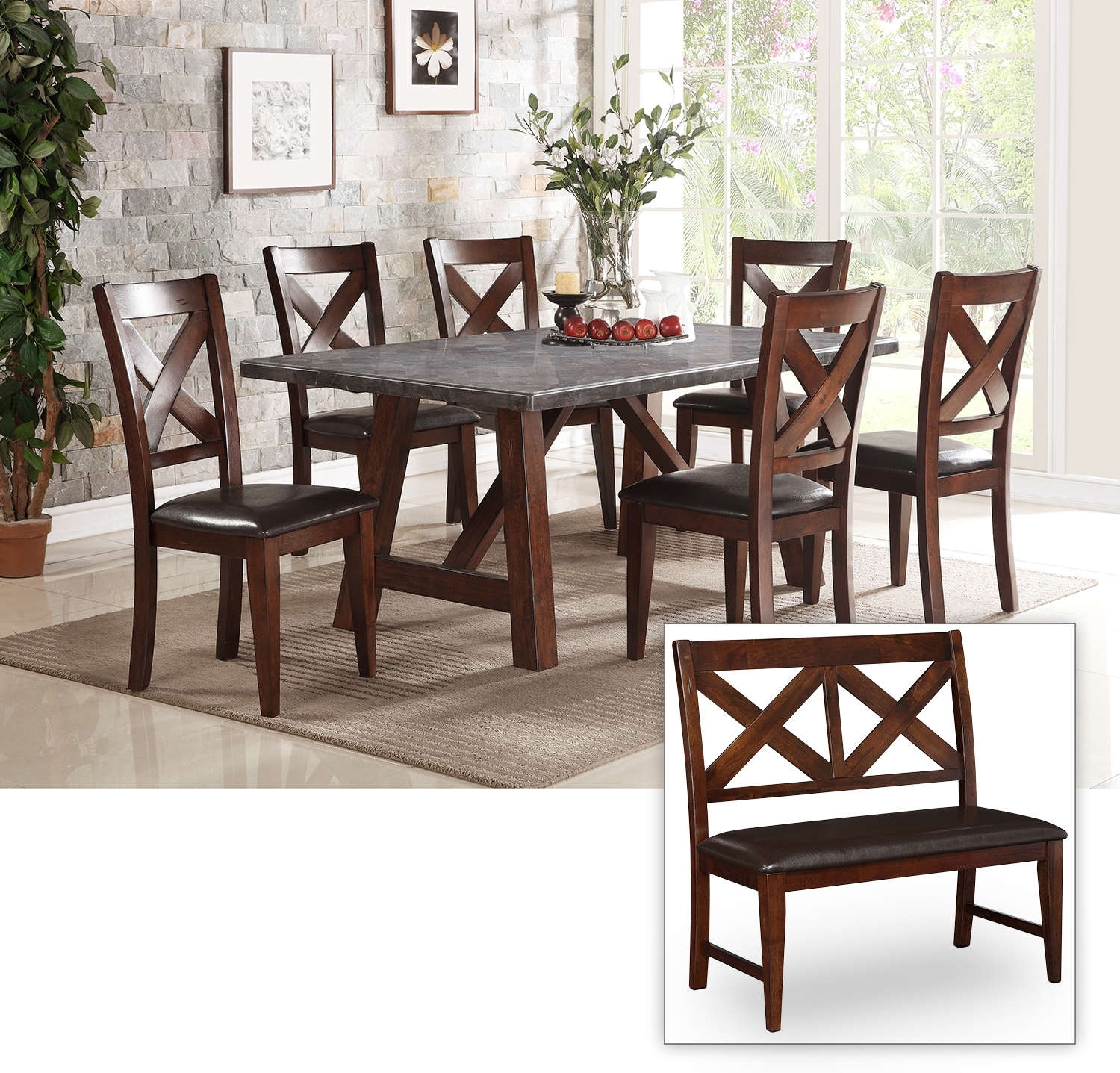 Dining Room Furniture - Bluestone 6-Piece Dining Package