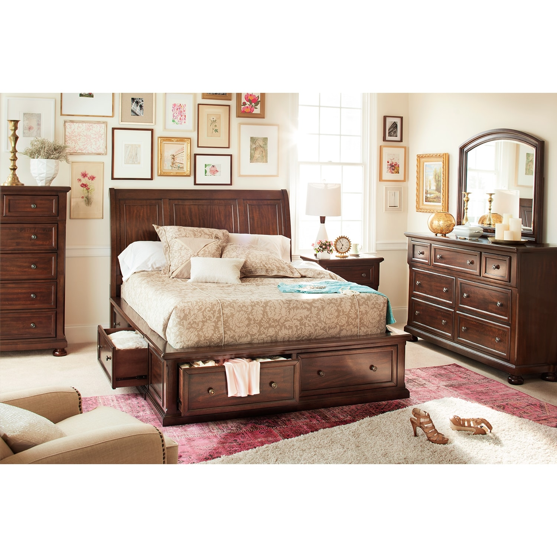 hanover 7 piece queen storage bedroom set cherry value city furniture. Black Bedroom Furniture Sets. Home Design Ideas