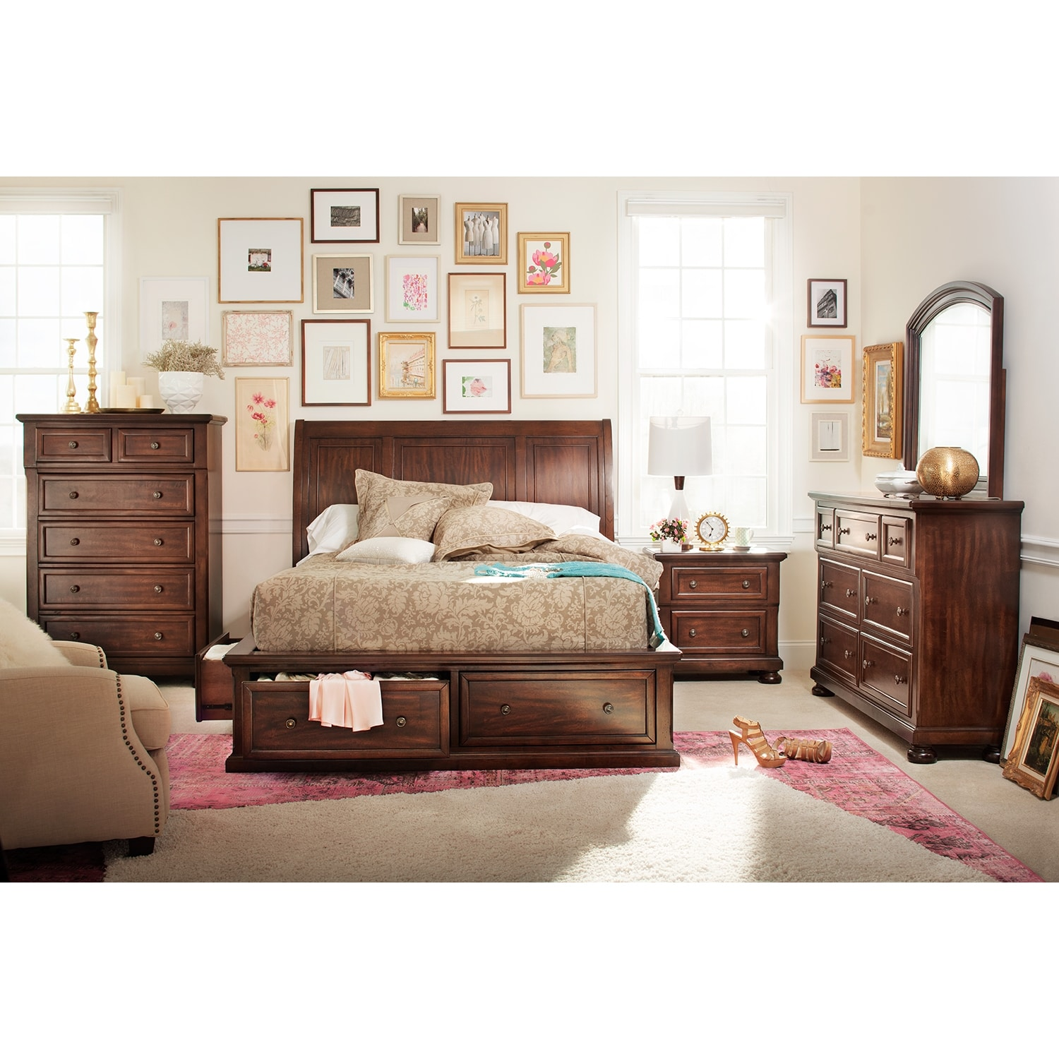 Hanover 7 piece queen storage bedroom set cherry value for Bedroom furniture queen storage bed