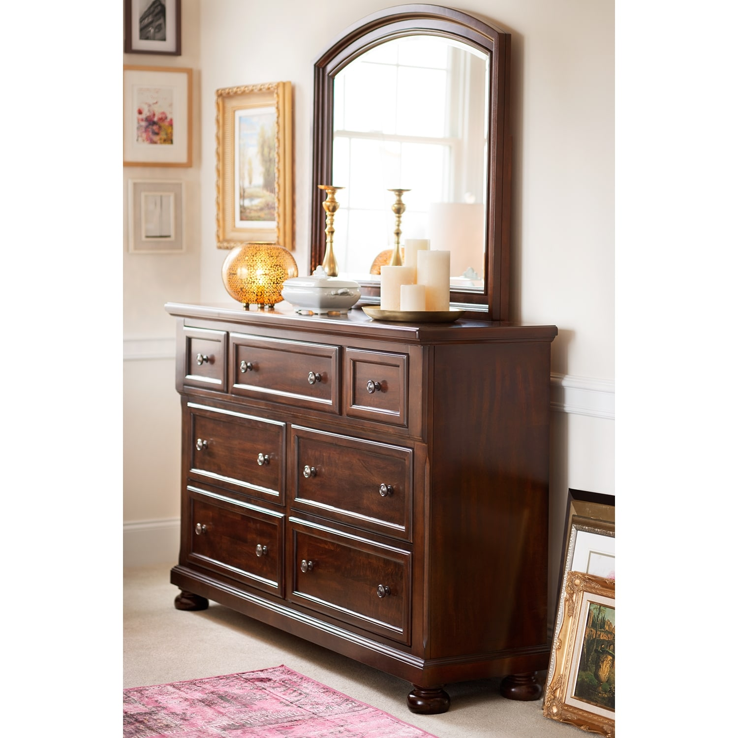 Hanover Dresser and Mirror - Cherry   Value City Furniture