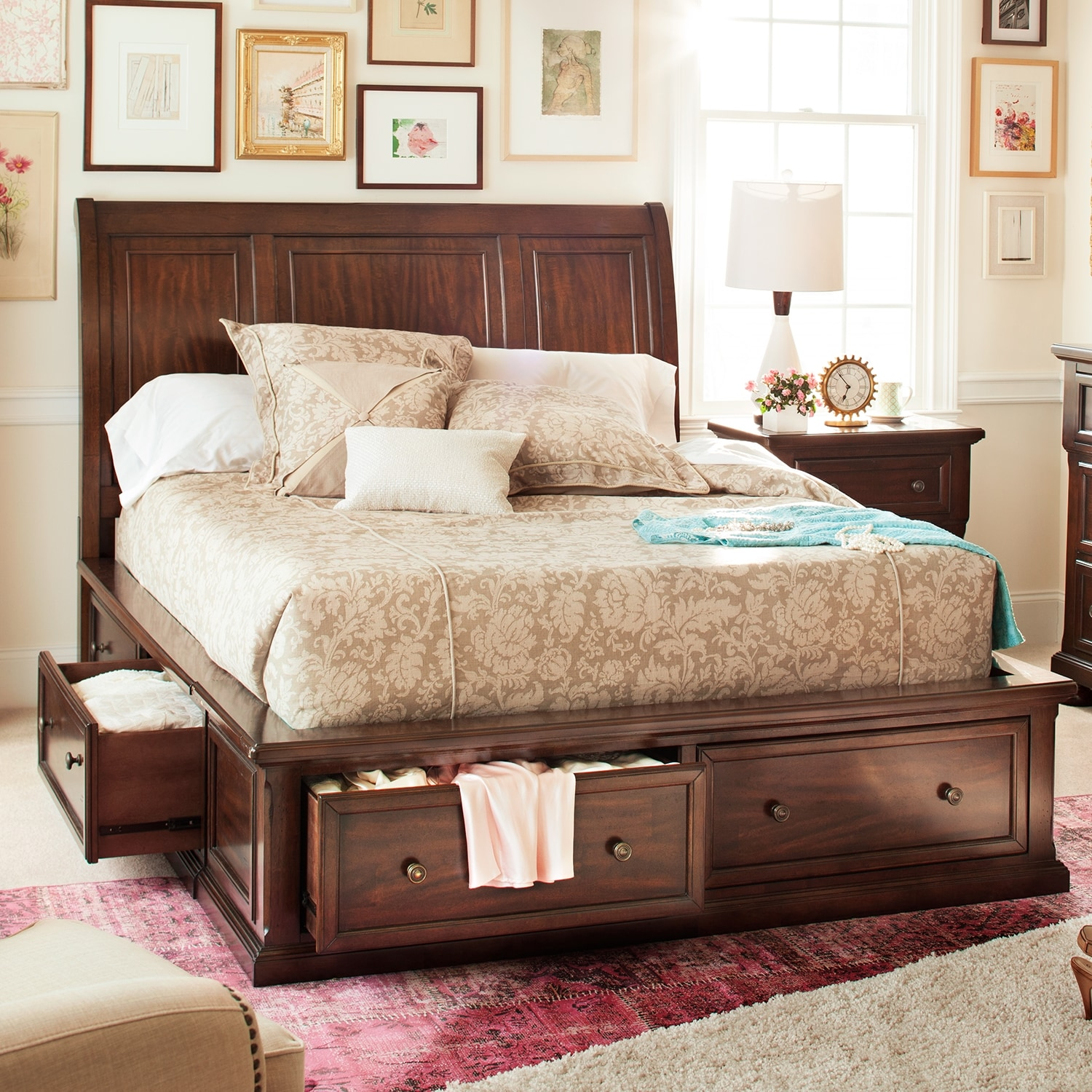 Hanover queen storage bed value city furniture for Bedroom furniture queen storage bed