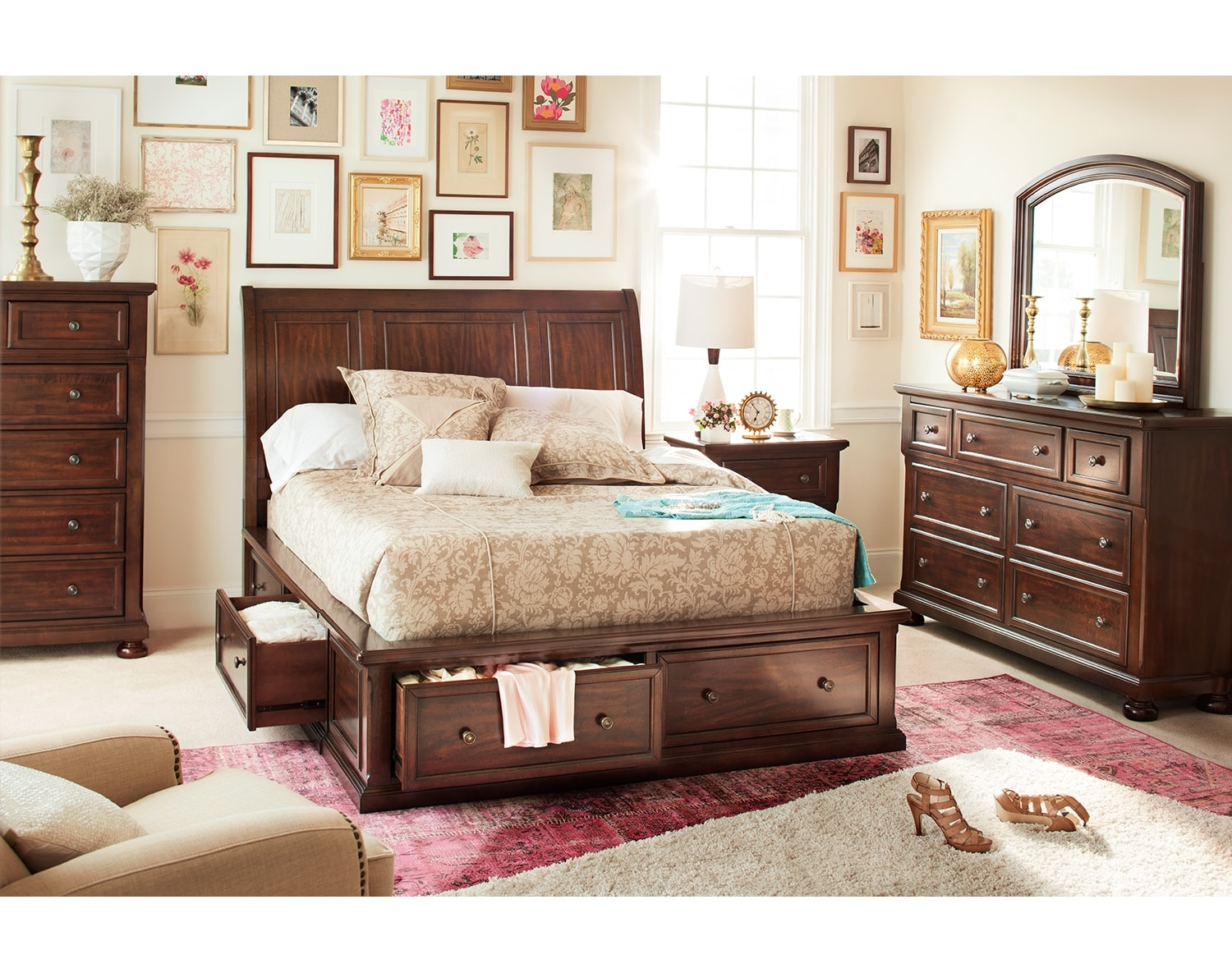 The Hanover Storage Bedroom Collection - Cherry  Value City Furniture
