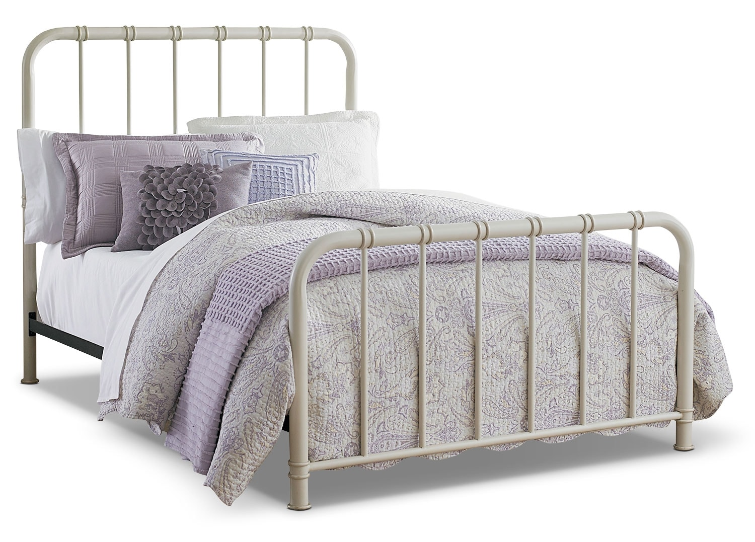 Kids Furniture - Tristan Twin Metal Bed - Antique White
