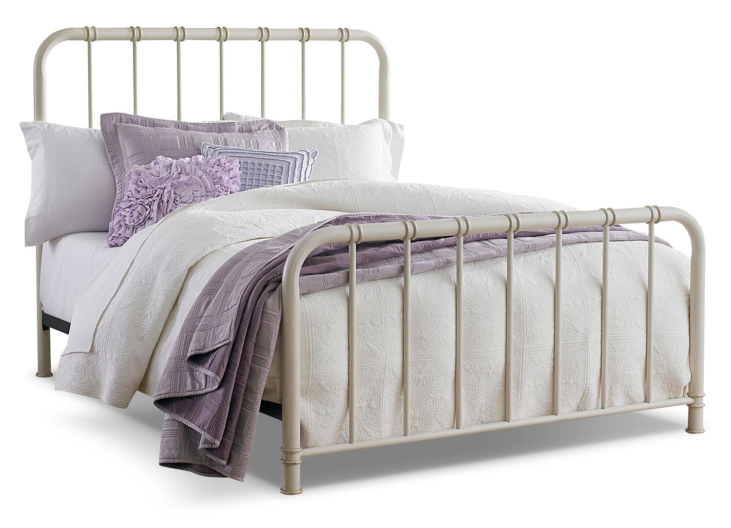 Tristan Full Metal Bed - Antique White