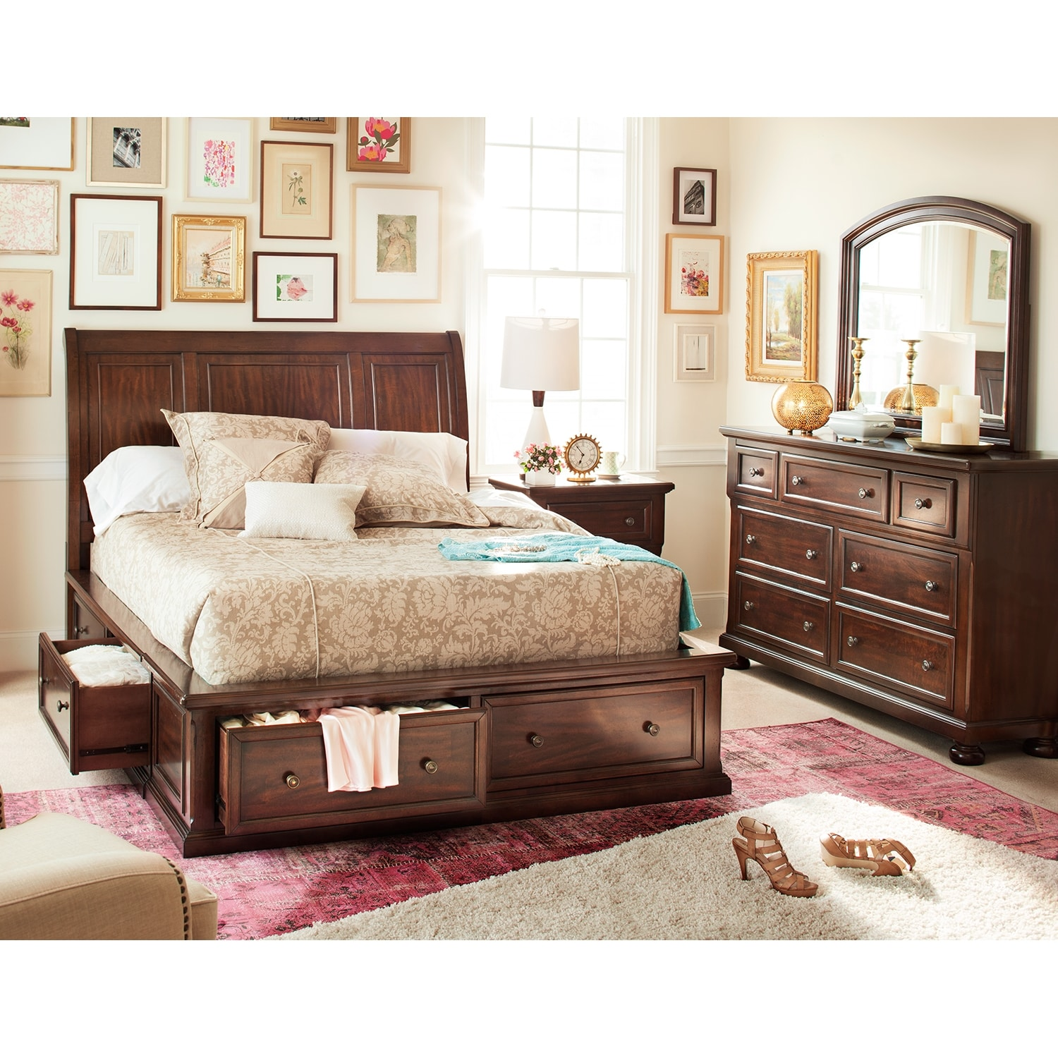 Hanover 5 piece king storage bedroom cherry american for American furniture king bedroom sets