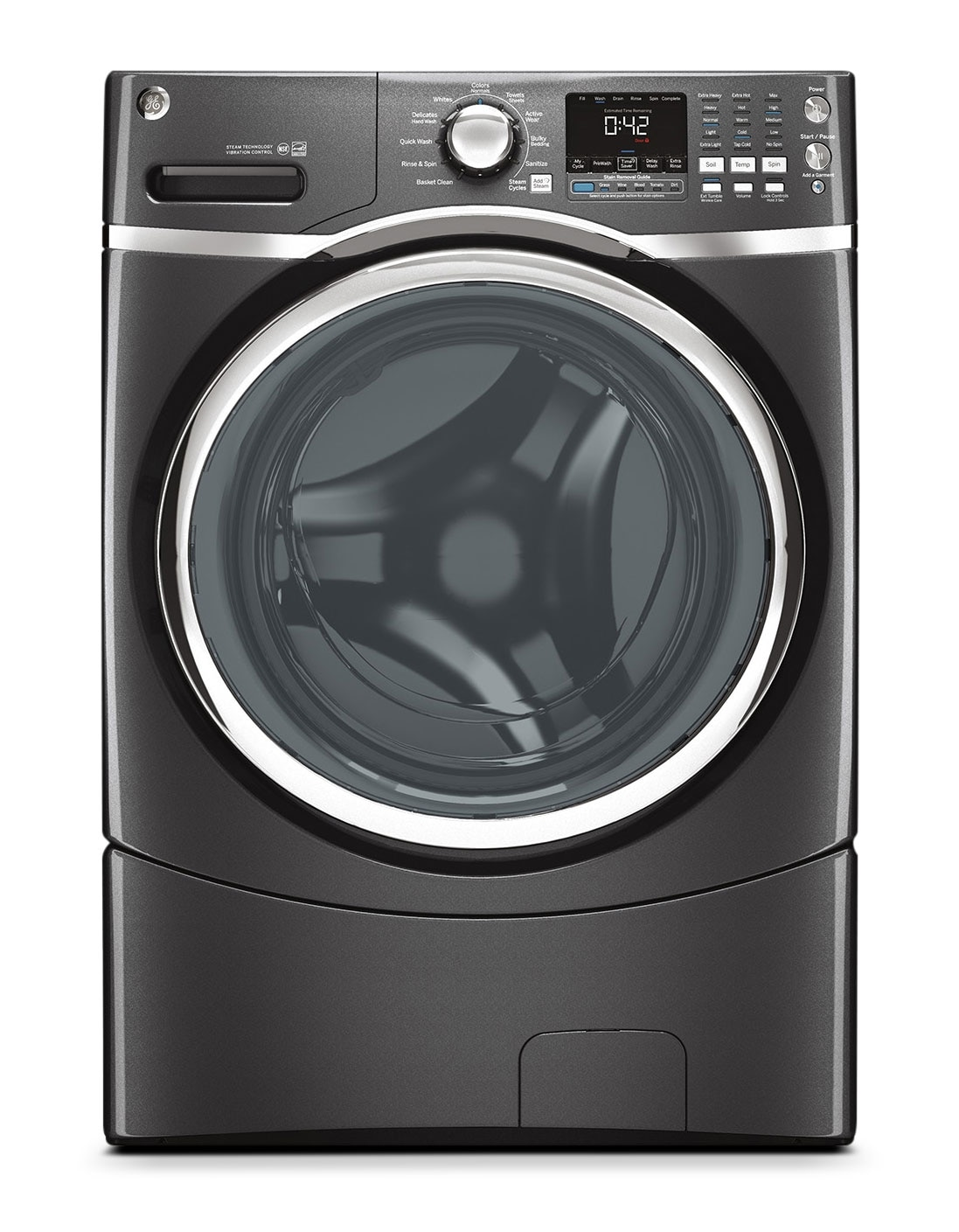 Washers and Dryers - GE Diamond Grey Front-Load Washer (5.0 Cu. Ft. IEC) - GFWS1705HDG