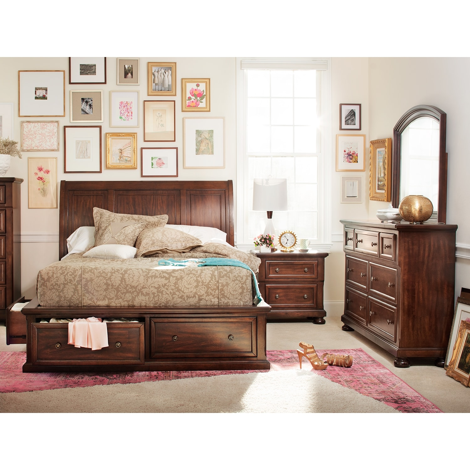 hanover 6 piece king storage bedroom set cherry american signature furniture. Black Bedroom Furniture Sets. Home Design Ideas