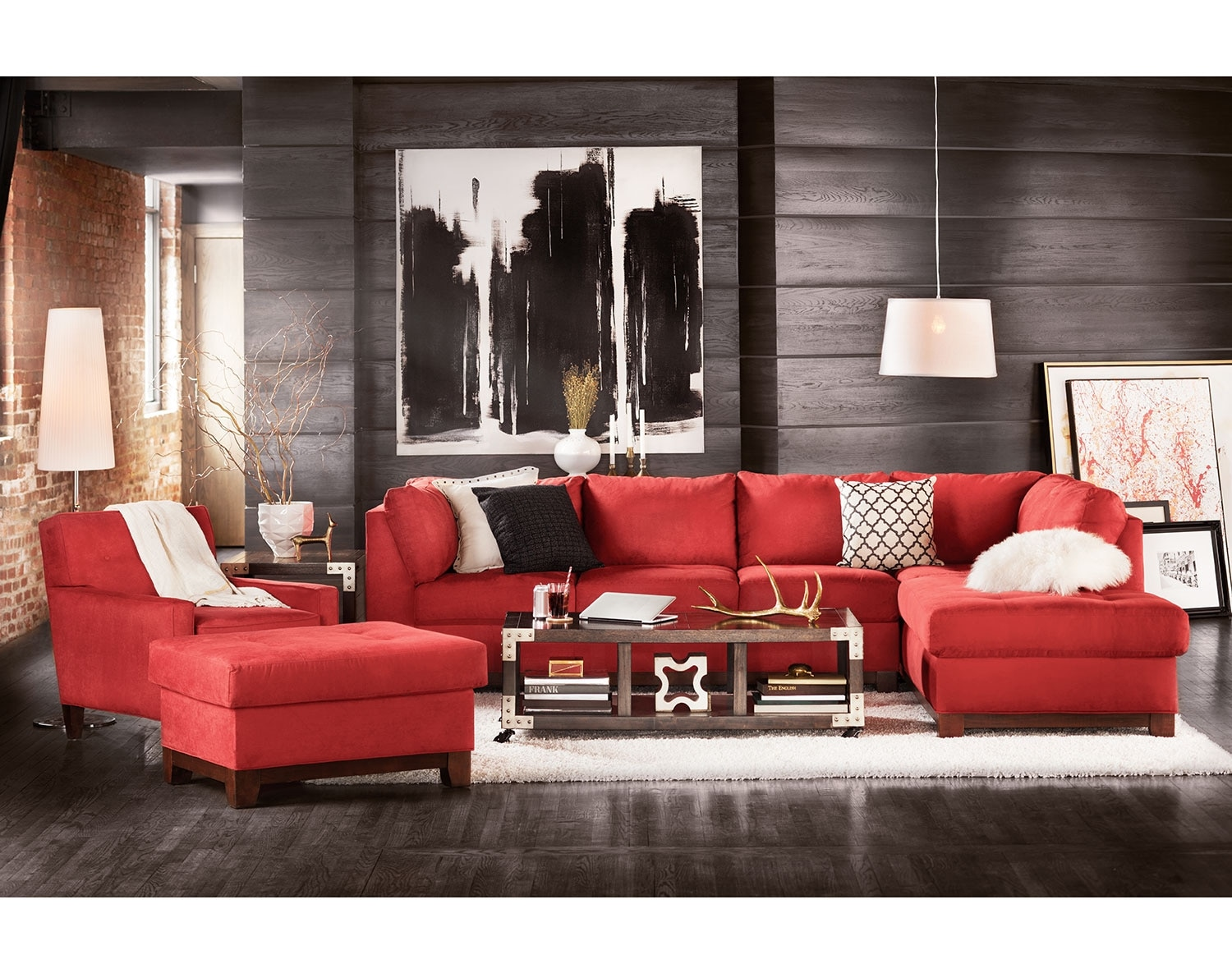 The Soho Sectional Collection Red American Signature Furniture