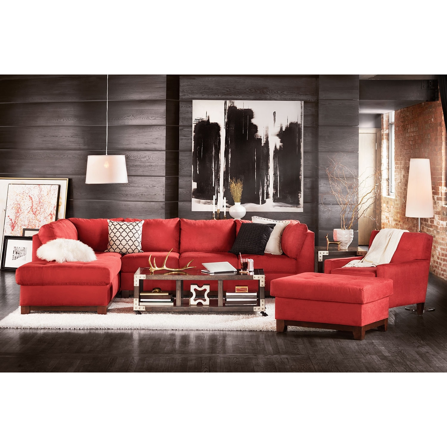 Soho 2 piece sectional with left facing chaise and ottoman for Living room furniture packages