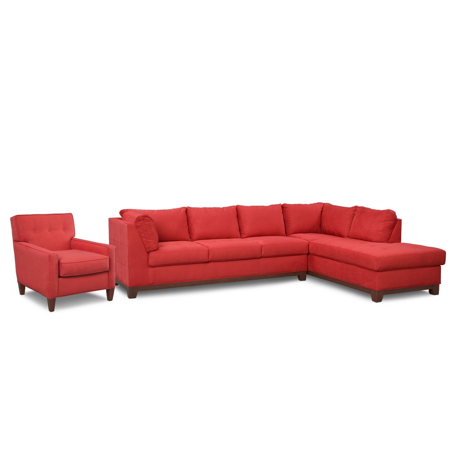 Soho 2 piece sectional with right facing chaise red for 2 piece chaise sectional