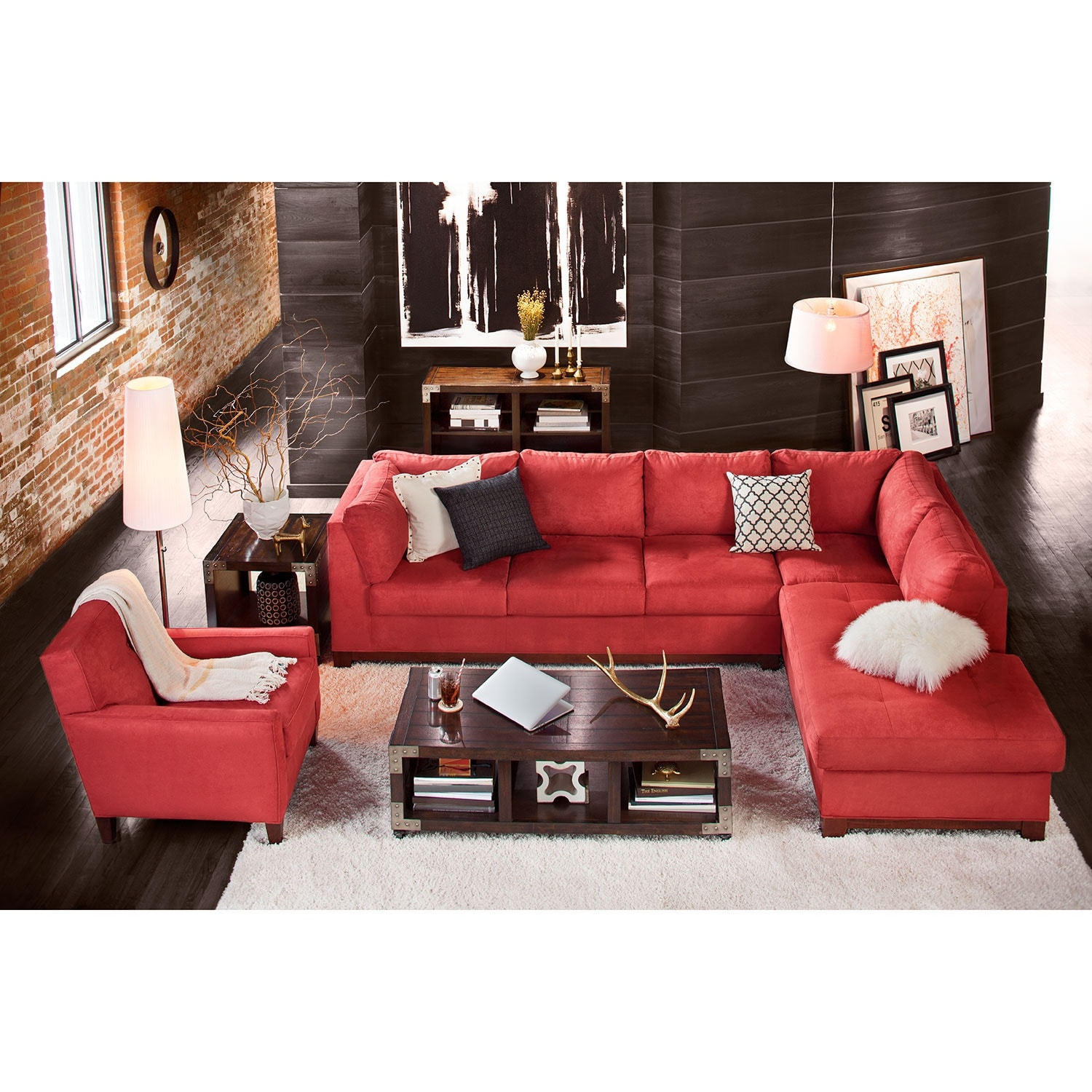 Red Upholstered Living Room Chair With Arms View
