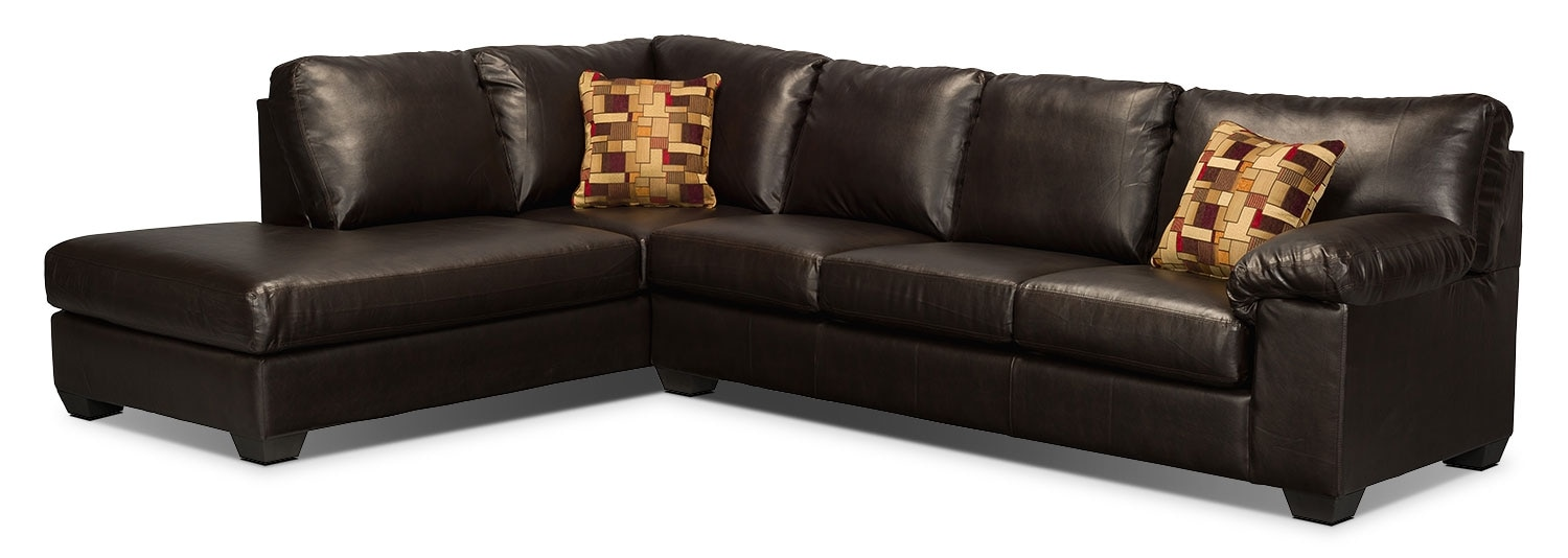 Morty bonded leather sectional with right chaise brown for Bonded leather chaise