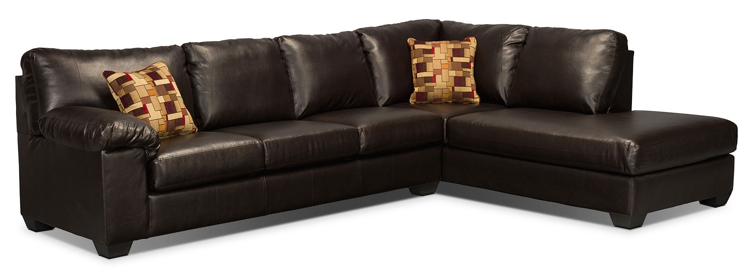 morty bonded leather sectional with right chaise brown